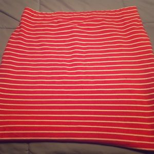 Pink and White striped skirt